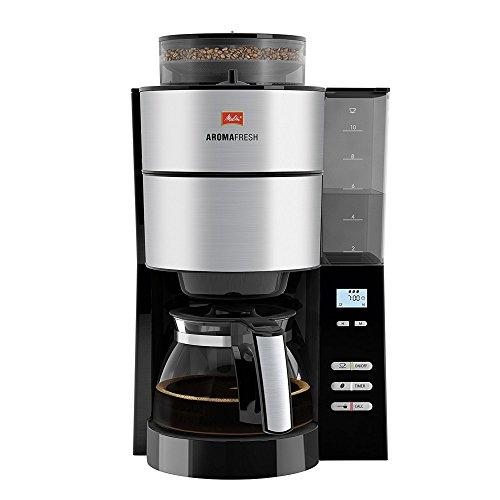 Melitta, Filterkaffeemaschine mit integriertem Mahlwerk, AromaFresh, Schwarz/Edelstahl