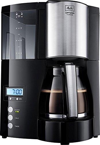 Melitta, Filterkaffeemaschine mit Timer-Funktion, Optima Timer, Schwarz/Edelstahl