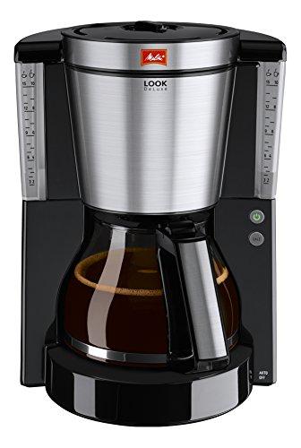 Melitta, Filterkaffeemaschine mit Glaskanne, LOOK DeLuxe, Patentierter AromaSelector, Schwarz/Edelstahl