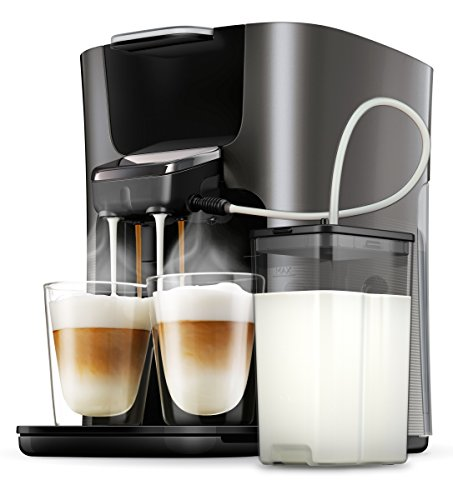 philips senseo hd6574 50 latte duo kaffeepadmaschine 2 kaffee frische milch titanium. Black Bedroom Furniture Sets. Home Design Ideas