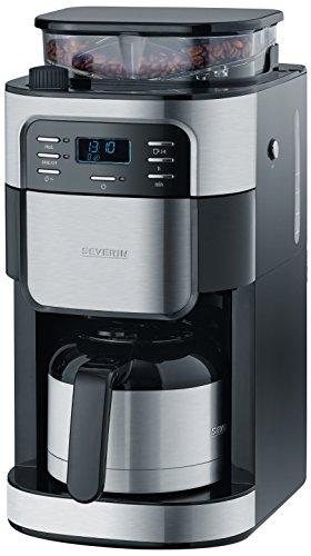 Severin KA 4812 Kaffeeautomat mit Mahlwerk, (1000 Watt, 1 Liter, edelstahl-Thermokanne) edelstahl/gebürstet/schwarz