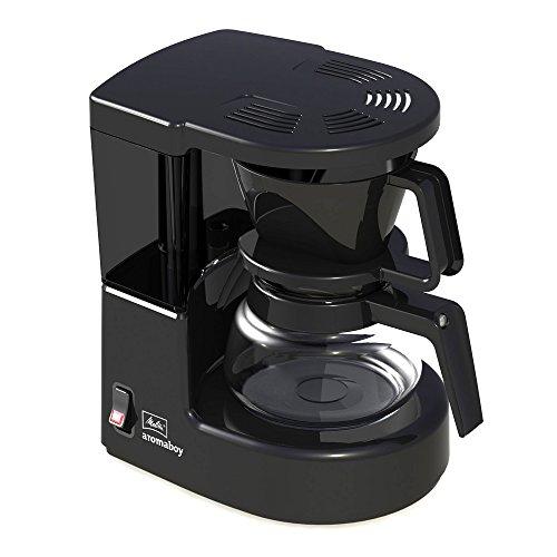 Melitta, Filterkaffeemaschine mit Glaskanne, Aromaboy, 2 Tassen-Glaskanne, Filtereinsatz, Schwarz, 101502