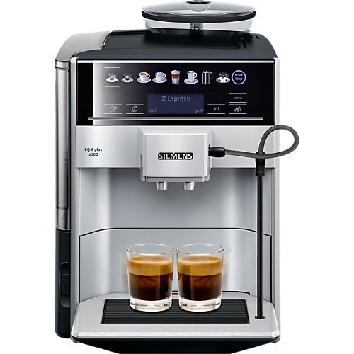 Siemens EQ.6 plus s300 TE653501DE Kaffeevollautomat (1500 Watt, SensoFlow System, aromaDouble Shot, coffeeSelect Display, Keramik-Mahlwerk) silber